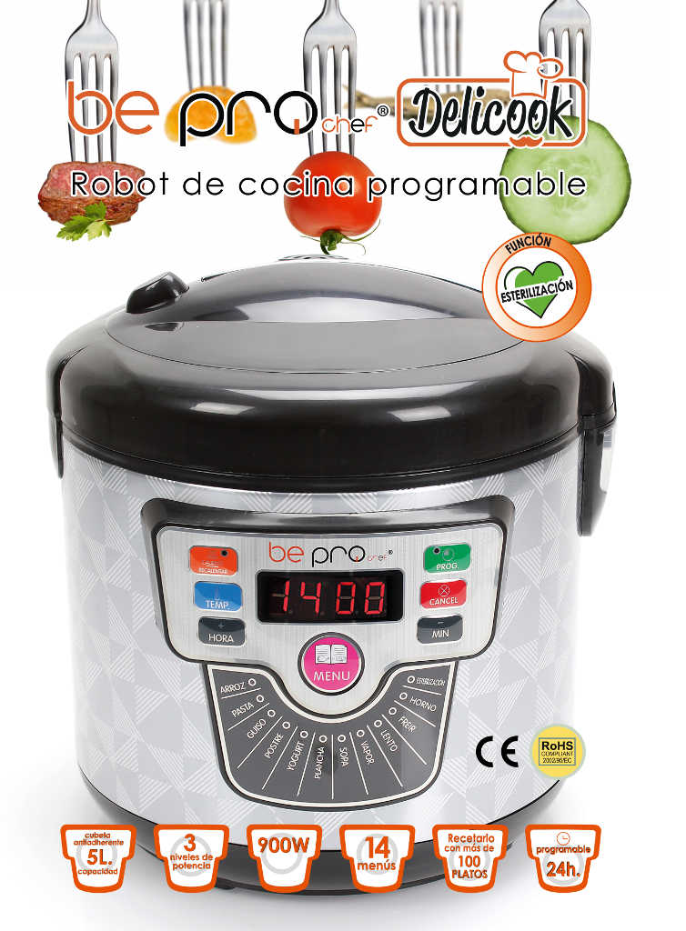 Olla programable be pro chef delicook sin presi n for Robot de cocina chef plus precio